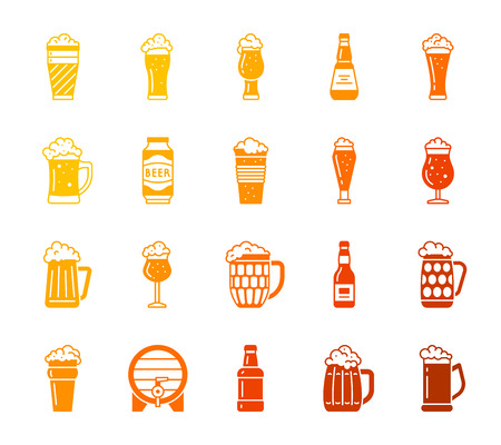 Beer Mug silhouette icons set. Isolated web sign kit of tall glass. Pub Bar pictogram collection includes froth, brew, pilsner. Simple beer bottle color contour symbol. Vector Icon shape for stamp