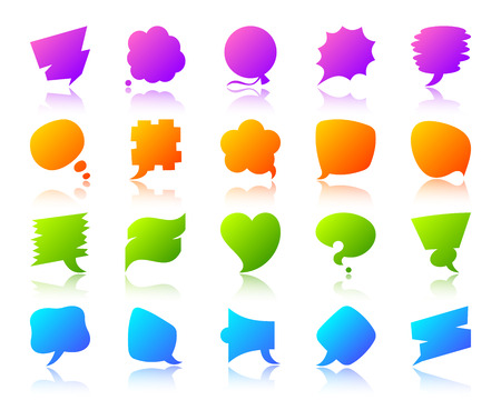 Speech Bubble silhouette icons set with reflection. Comic tell sign. Chat Communication vector pictogram price label, abstract badge, clean note. Gradient simple speech bubble icon isolated on white