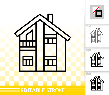House thin line icon. Outline home exterior sign. Township linear pictogram with different stroke width. Simple vector symbol transparent background. Cottage building editable stroke icon without fill