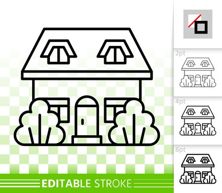 House thin line icon. Outline web sign of home exterior. Township linear pictogram with different stroke width. Cottage simple vector transparent symbol. Building editable stroke icon without fill