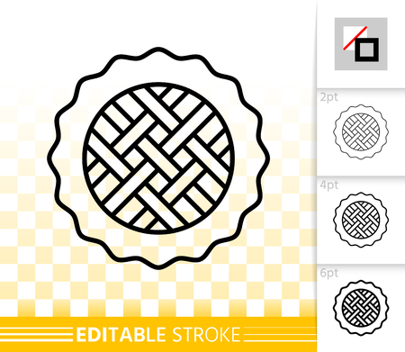 Pie thin line icon. Outline sign of fruit tart. Sweet dessert linear pictogram with different stroke width. Simple vector symbol, transparent background. Cheesecake editable stroke icon without fill