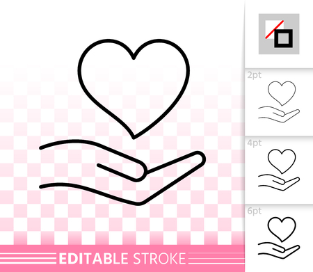Heart In Hand thin line icon. Outline sign of valentines day. Romantic Love linear pictogram, different stroke width. Simple vector transparent symbol. February 14 editable stroke icon without fill