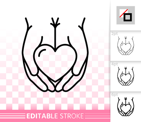 Heart In Palms thin line icon. Outline sign of giving hand. Valentines Day linear pictogram with different stroke width. Simple vector symbol, transparent background. Editable stroke icon without fill