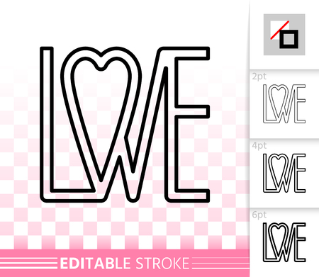 Heart thin line icon. Outline web sign of love. Valentine Day linear pictogram with different stroke width. Simple vector symbol, transparent background. February 14 editable stroke icon without fill Illustration