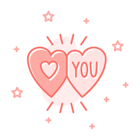 Couple hearts flat cartoon style concept. Simple sign of valentine day. Love you detailed icon. Cute color symbol for web, print, social media post, banner, card design. Vector Illustration on white Illustration