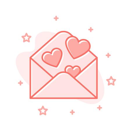 Romantic Letter | Love Letter Flat Cartoon Style Envelope Concept Simple Sign Of