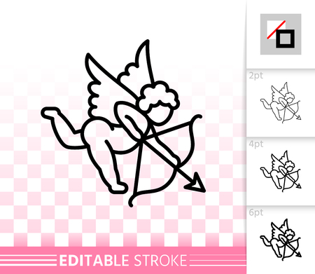 Cupid thin line icon. Outline sign of valentines day. Romantic Love linear pictogram with different stroke width. Amour simple vector transparent symbol. February 14 editable stroke icon without fill