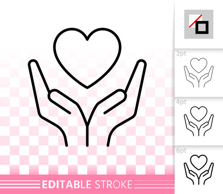 Heart in palms thin line icon. Outline sign of giving hand. Valentines Day linear pictogram with different stroke width. Simple vector transparent symbol. February 14 editable stroke icon without fill