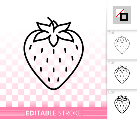 Strawberry thin line icon. Outline web sign of sweet romantic fruit. Berry linear pictogram with different stroke width. Simple vector symbol, transparent background. Editable stroke icon without fill Standard-Bild - 115720593