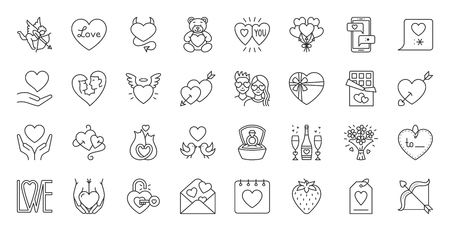 Valentines Day thin line icon set. Outline sign kit of love. Couple Hearts linear icons of cupid bow, diamond ring, candy chocolate. Simple february 14 black symbol on white. Vector Illustration