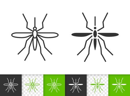 Mosquito black linear and silhouette icons. Thin line sign of insect. Bite outline pictogram isolated on white, color, transparent background. Bug vector Icon shape. Entomology simple symbol closeup