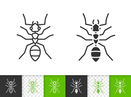 Ant black linear and silhouette icons. Thin line sign of insect. Animal outline pictogram isolated on white, color, transparent background. Bug vector Icon shape. Entomology simple symbol closeup