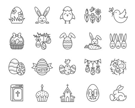 Easter thin line icons set. Outline sign kit of egg. Bunny rabbit linear icon collection includes bird nest, church, chick. Simple spring flower contour symbol isolated on white vector Illustration