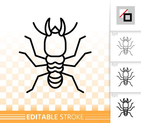 Termite thin line icon. Outline web sign of insect. Wood linear pictogram with different stroke width. Simple vector symbol, transparent background. bug animal pest editable stroke icon without fill