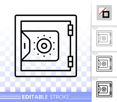 Safe thin line icon. Outline web sign of bank cell. Keep Money linear pictogram with different stroke width. Simple vector symbol, transparent background. Steel box editable stroke icon without fill Illustration