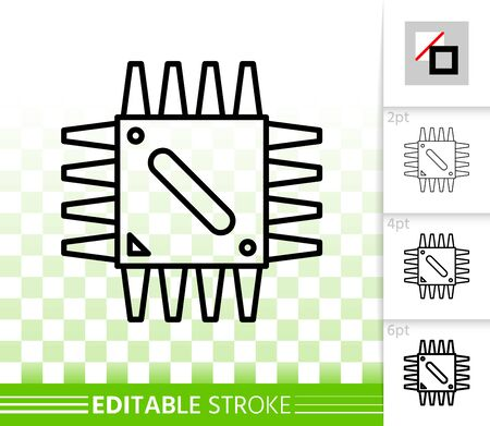 Microchip thin line icon. Outline sign of cpu. Microprocessor linear pictogram with different stroke width. Simple vector symbol, transparent background. Microscheme editable stroke icon without fill