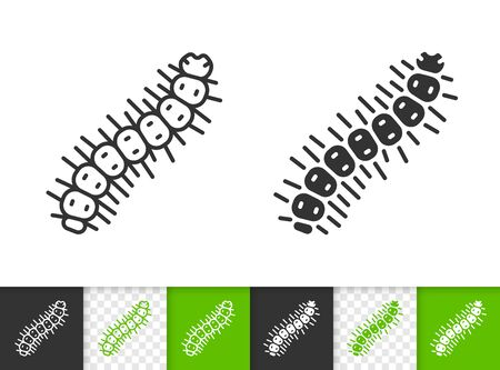 Caterpillar black linear and silhouette icons. Thin line sign of worm. Grub outline pictogram isolated on white, color, transparent background. Larva vector Icon shape. Centipede simple symbol closeup