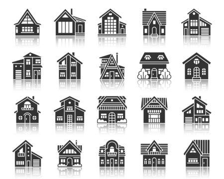 Icone della siluetta domestica impostate. Kit di segnaletica web monocromatica dell'esterno della casa. La collezione di pittogrammi Township include vendita, nuova costruzione immobiliare. Simbolo nero semplice di vettore del cottage. Icona a forma di casa con riflesso