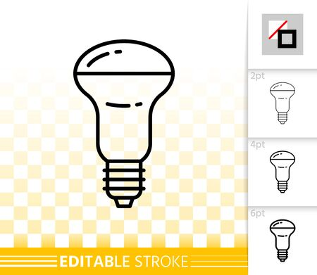 Light Bulb thin line icon. Outline web sign of glass lamp. Lightbulb linear pictogram with different stroke width. Simple vector transparent symbol. Electric power editable stroke icon without fill
