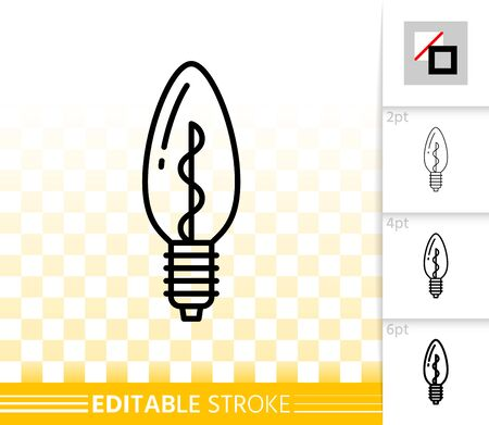 Halogen Light Bulb thin line icon. Outline web sign of glass lamp. Lightbulb linear pictogram different stroke width. Simple vector transparent symbol. Electric power editable stroke icon without fill