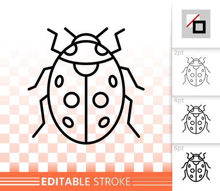Ladybug thin line icon. Outline web sign of ladybird. Bug linear pictogram with different stroke width. Simple vector symbol on transparent background. Insect editable stroke icon without fill
