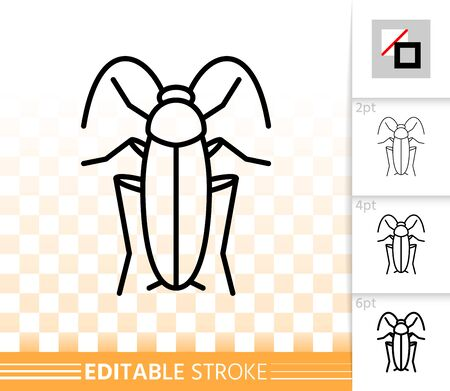Cockroach thin line icon. Outline web sign of roach. Pest linear pictogram with different stroke width. Simple vector symbol on transparent background. Danger Insect editable stroke icon without fill