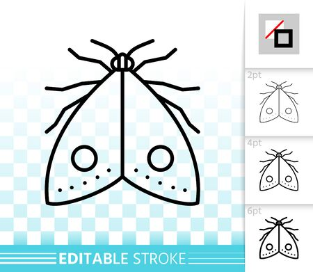Moth thin line icon. Outline web sign of butterfly. Flying insect linear pictogram with different stroke width. Simple vector symbol, transparent background. Moth editable stroke icon without fill