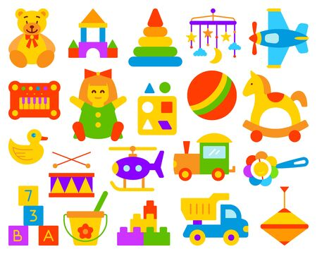 Baby Toy simple flat cartoon style set. Kids Game sign collection includes bear, ball, horse. Children play colorful icon kit for fun and activity. Color symbol isolated on white. Vector Illustration Ilustracja