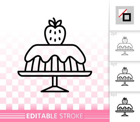 Strawberry Cake thin line icon. Outline dessert sign. Sweet food linear pictogram with different stroke width. Simple vector transparent symbol. Birthday bakery editable stroke icon without fill Illustration