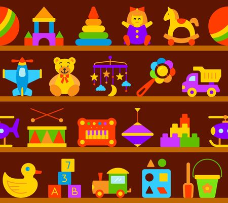 Baby toy seamless pattern on wood shop shelves in flat cartoon style. Kids game sign includes teddy bear, pyramid, doll. Children fun and activity play colorful icon. Color symbol vector Illustration