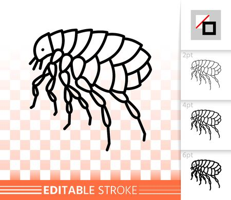 Flea thin line icon. Outline web sign of insect. Animal parasite linear pictogram with different stroke width. Simple vector symbol, transparent background. Pest bug, editable stroke icon without fill