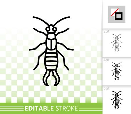 Earwig thin line icon. Outline web sign of insect. Dermaptera linear pictogram with different stroke width. Simple vector transparent symbol. Forficula auricularia editable stroke icon without fill Illustration