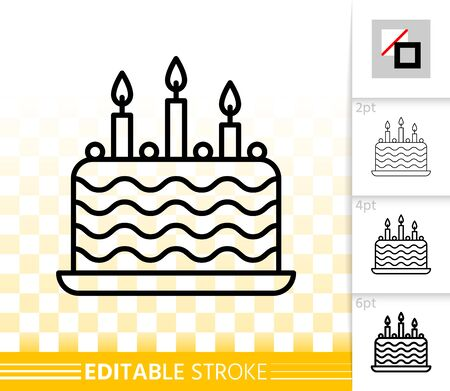 Birthday cake with candles thin line icon. Outline web sign of sweet food. Linear pictogram with different stroke width. Simple vector symbol, transparent background. Editable stroke icon without fill Illusztráció