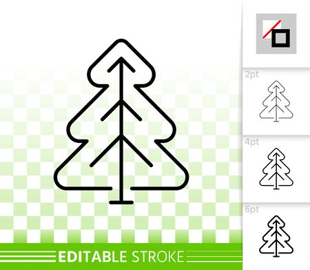 Cristmas Tree thin line icon. Outline web sign of conifer. Spruce linear pictogram with different stroke width. Simple vector symbol, transparent background. Pine editable stroke icon without fill