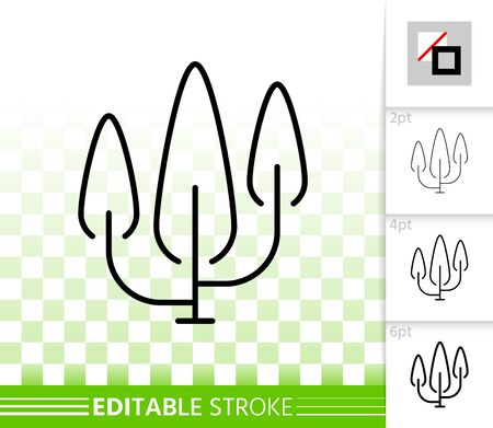 Cypress thin line icon. Outline web sign of poplar. Geometric Tree linear pictogram with different stroke width. Simple vector symbol, transparent background. Thuja editable stroke icon without fill
