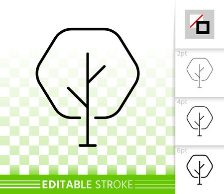 Geometric Tree thin line icon. Outline web sign of abstract sapling. Maple linear pictogram with different stroke width. Simple vector transparent symbol. Eco plant editable stroke icon without fill