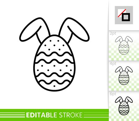 Easter bunny egg thin line icon. Holiday poster. Spring banner in flat style. Simple illustration, outline symbol. Linear pictogram. Vector sign isolated on white. Editable stroke icon without fill Stock Illustratie