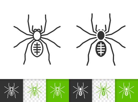 Spider black linear and silhouette icons. Thin line sign of insect. Tarantula outline pictogram isolated on white, color, transparent background. Vector Icon shape. Black widow simple symbol closeup Stock Vector - 128735540