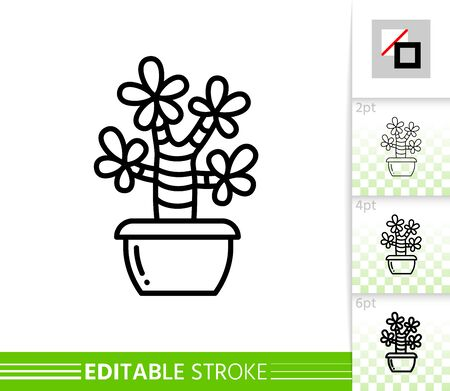Cactus thin line icon. Succulent banner in flat style. Houseplant poster. Linear pictogram. Cacti Simple illustration, outline symbol. Vector sign isolated on white. Editable stroke icons without fill Stock Illustratie