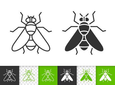 Fly black linear and silhouette icons. Thin line sign of insect. Housefly outline pictogram isolated on white, color, transparent background. Vector Icon shape. Fly simple symbol closeup Ilustracja