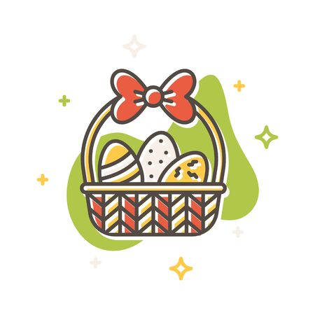 Easter egg basket concept in flat cartoon style. Filled outline icon design. Simple sign of Spring time. Cute color symbol. Print, poster, banner, card design. Vector Illustration isolated on white