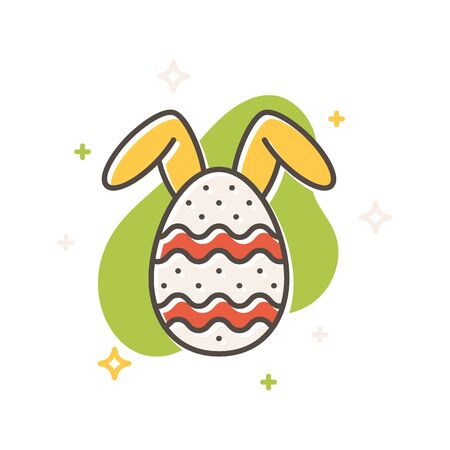 Easter egg bunny rabbit concept, flat cartoon style. Filled outline icon design. Simple sign of Spring time. Cute color symbol. Print, poster, banner, card design Vector Illustration isolated on white