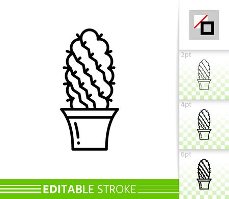 Cactus ball thin line icon. Succulent banner in flat style. Houseplant poster. Linear pictogram. Simple illustration, outline symbol. Vector sign isolated on white. Editable stroke icons without fill