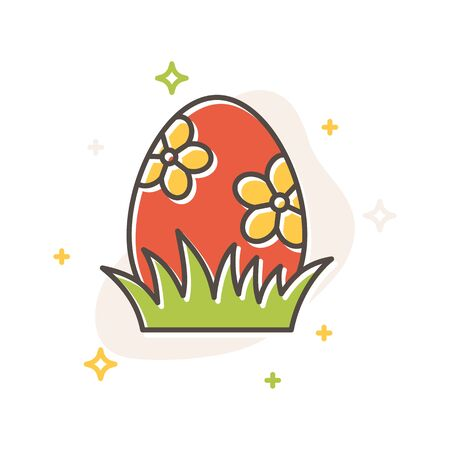 Easter egg in grass concept in flat cartoon style. Filled outline icon design. Simple sign of Spring time. Cute color symbol. Print, poster, banner, card design. Vector Illustration isolated on white