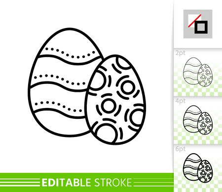 Easter egg decorate thin line icon. Holiday poster. Spring banner in flat style. Simple illustration, outline symbol. Linear pictogram. Vector sign isolated on white. Editable stroke icon without fill Stock Illustratie