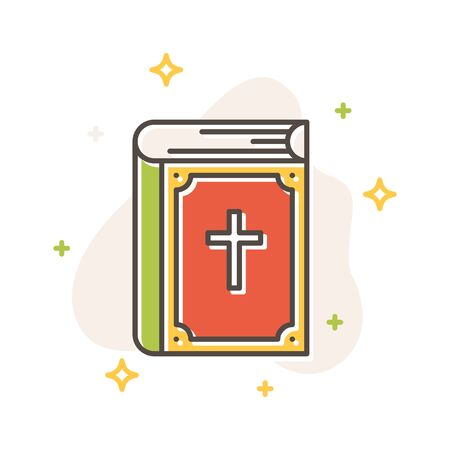 Holy bible book concept, flat cartoon style. Filled outline icon design. Simple sign of christian religion. Cute color symbol. Print, poster, banner, card design. Vector Illustration isolated on white