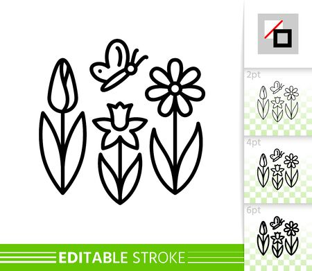 Spring flower with butterfly thin line icon. Holiday poster. Banner in flat style. Simple illustration, outline symbol. Linear pictogram. Vector sign isolated white. Editable stroke icon without fill