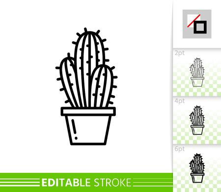 Cactus thin line icon. Saguaro banner, flat style. Houseplant poster. Linear pictogram. Succulent simple illustration, outline symbol. Vector sign isolated on white. Editable stroke icons without fill