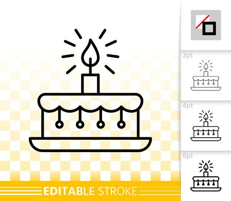 Birthday cake with candle thin line icon. Outline sign of sweet dessert. Linear pictogram with different stroke width. Simple vector symbol, transparent background. Editable stroke icon without fill