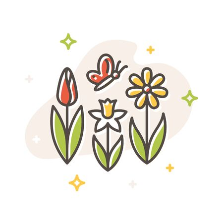 Flower spring and butterfly concept, flat cartoon style. Filled outline icon design. Simple sign of Spring. Cute color symbol. Print, poster, banner, card design. Vector Illustration isolated on white